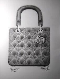 "LADY DIOR by SERGIO MATA drawing on paper, 11"" by 14"", luxury pop art handbag"