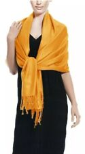 """Peach Couture Yellow Gold Pashmina Fringe Scarf Wrap Made In India 75"""" X 23"""" NEW"""