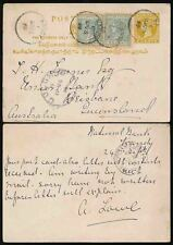CEYLON QV 1899 POSTAL STATIONERY CARD to AUSTRALIA QUEENSLAND 2c + 2 x 2c KANDY