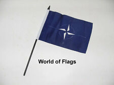 "NATO SMALL HAND WAVING FLAG 6"" x 4"" World Peace Crafts Table Top Desk Display"
