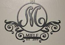 Personalized Monogram Door Hanger PlasmaMetal WallArtName Initial Year