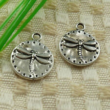 55pcs tibetan silver round dragonfly charms 19x15mm #4623
