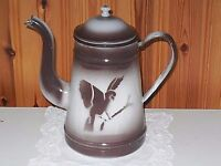 ANTIQUE VINTAGE FRENCH ENAMELED COFFEE POT -  BIRDS  c.1940
