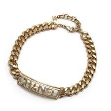 CHANEL Chain Choker Necklace Rhinestone Rare Auth Excellent condition