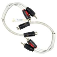 2 Pack 1 Female to 2 Male RCA Splitter Triple Shield Inteconnect Car Home Audio
