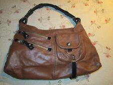 BCBG Girls Brown Leather w/ Black Patent Strap & Trim Shoulder Purse Handbag EUC