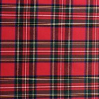 RED ROYAL STEWART TARTAN PRINT STRETCH COTTON ELASTANE TWILL FABRIC BY THE METRE