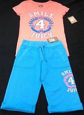 NWT Juicy Couture New Blue Soft Cotton Shorts With Logo & T-Shirt Girls Age 8