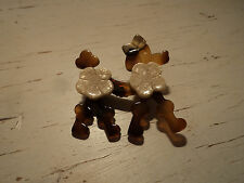 LEA STEIN SIGNED POODLE DOG BROOCH PIN vintage figural Faux Tortoise shell color