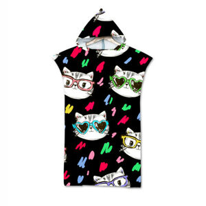 Novelty Gift Cute Cat Kitten Hooded Bath Surf Beach Poncho Towel Changing Robe
