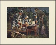 AIREDALE TERRIER RED CROSS WAR RESCUE DOG GREAT PRINT MOUNTED READY TO FRAME