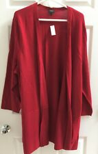 NWT Talbots 3XP (22WP 24WP) RED OPEN-FRONT MERINO WOOL CARDIGAN