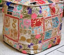 Beige Patchwork Indian Handmade Square Footstool Ottoman Pouf Cover Home Decor