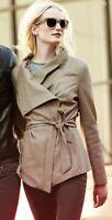 Elie Tahari Small Beige Claudette Leather Jacket Trench Coat Drape VTG Classy