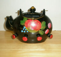 Vintage Ceramic Wall Decor Tea Pot Planter and Pot Holder Hand Painted Japan
