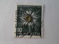 SUISSE SCHWEIZ, 1943, timbre 389, FLEURS, CHARDON, FLORE, FLOWERS, oblitéré
