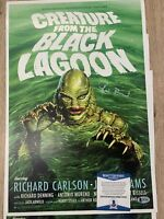RICOU BROWNING Signed Creature from the Black Lagoon 11x17 poster BECKETT COA