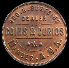 1900's George H. Burfeind Coins & Curios Store Card Token Washington D.C. -Unc.
