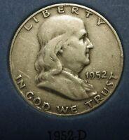 1952-D Ben Franklin Silver Half Dollar Average Circulated Condition Great Price