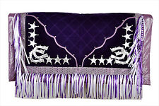 Western Barrel Show Rodeo Style Saddle Pad With Matching Fringes-Purple