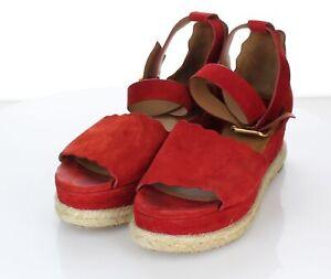 13-11 $595 Women's Sz 36 M Chloe Lauren Suede Ankle Wrap Espadrilles In Red Flam