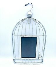 """Brushed Silver Tone Metal Figural Bird Cage 4x6 Photo Frame 14"""" Cottage Shabby"""