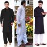NEW Mens Cotton Shalwar Kameez Black White Salwar Punjabi Kurta Summer suit M XL