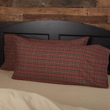 VHC Rustic King Pillow Case Set of 2 Bedding Tartan Red Plaid Cotton