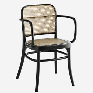 Black Wooden Rattan Chair With Armrest by Madam Stoltz