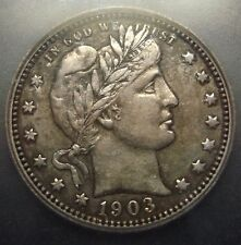 ICG graded EF45 TONED XF+ 1903 O New Orleans Barber/Liberty silver 25C quarter