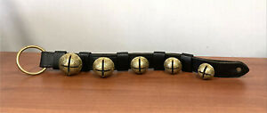 Vintage Antique 5 Sleigh Bell Brass Bells on Leather Strap Numbered
