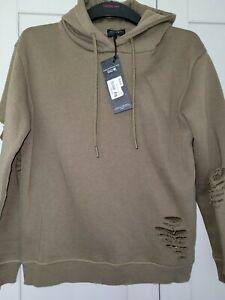 Firetrap Hoodie Jumper Size 8 Khaki Green Ripped Look
