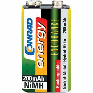 Conrad Energy Rechargeable PP3 Battery x1 NiMH 200mAh 8.4V