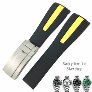 19-22 mm Silicone Watch Band Strap Fit For Rolex Submariner GMT Daytona Watches