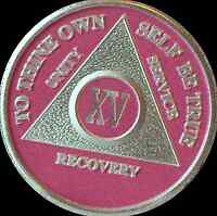 Pink & Silver Plated 15 Year AA Chip Alcoholics Anonymous Medallion Coin