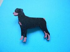 Rottweiler Dog Brooch Hand Painted Wood Badge Pin Wooden Puppy Rottie
