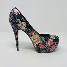 Dollhouse Lornah Women's Floral Platform Heels Glitter Sequin Size 8