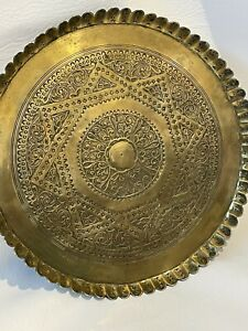 Brass Tray 13 Inch Diameter Morrocan Style With Fluted Edge  And Engraved Design