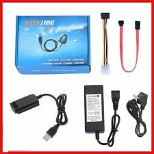 USB 2.0 to IDE SATA S-ATA 2.5 3.5 HD HDD Hard Drive Adapter Converter EU Plug Q9