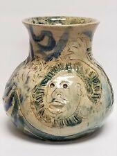 Vintage Signed JCM 7 USA Figural Glazed Stoneware Vessel Vase Cream & Blue