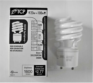 GU24 LED Two Prong Puck Light Bulb Mini Size Equivalent T2 13watt sparil Compact CFL 75-Watt Incandescent 9W 1000lm Daylight 5000K Non-Dimmable 2-Pack