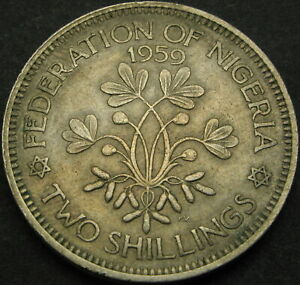 NIGERIA 2 Shillings 1959 - Elizabeth II - VF - 2558 ¤