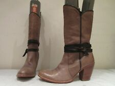 MISS SIXTY KHAKI MUSHROOM LEATHER LONG PULL ON BOOTS UK 6 39 (3421)