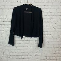 EILEEN FISHER Size PS Open Front Jacket Top Blouse Black 100 % Silk