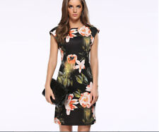 Black Floral Printed Pencilskirt Midi Dress Scoop Neck Sundress Cheongsam Sling