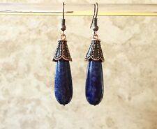 Lapis Lazuli Teardrop and Antique Copper Finish Handmade Beaded Dangle Earrings