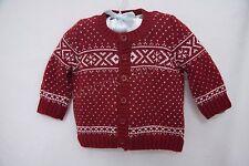 Benetton Baby Boy's Fair Isle Knit V Neck Cardigan Sweater Jacket Red 6-9 m NWT