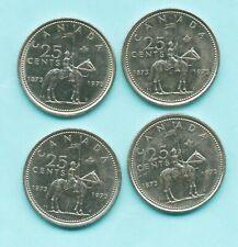 4 - 1973 Canada 25 Cents quarters Queen Elizabeth II RCMP Centennial Mountie