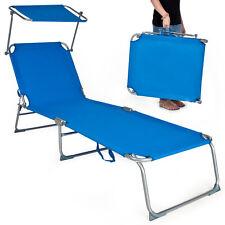 Gartenliege Sonnenliege Strandliege Freizeitliege mit Sonnendach 190cm blau NEU