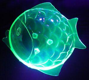 Gorgeous Stolzle Green Uranium Glass Fish Shaped Fruit Bowl 1930s Art Deco